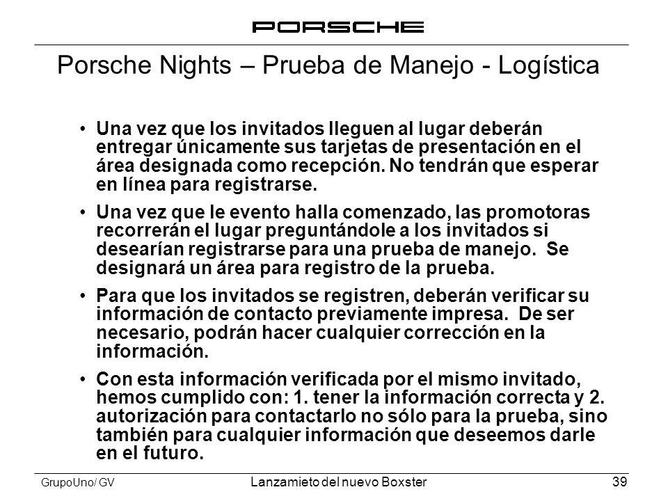 Porsche Nights – Prueba de Manejo - Logística