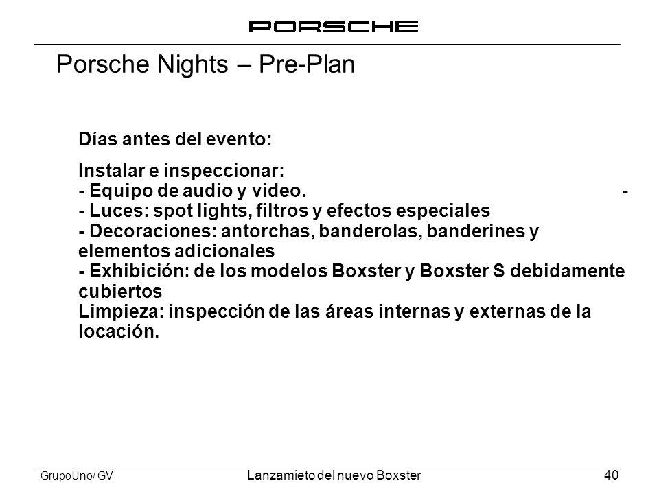 Porsche Nights – Pre-Plan