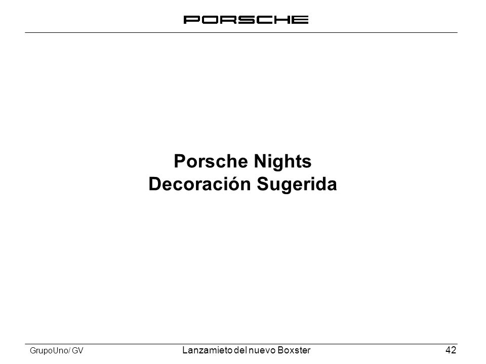 Porsche Nights Decoración Sugerida
