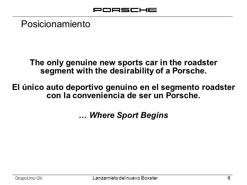 Posicionamiento The only genuine new sports car in the roadster