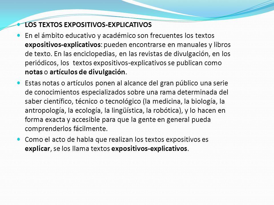 LOS TEXTOS EXPOSITIVOS-EXPLICATIVOS