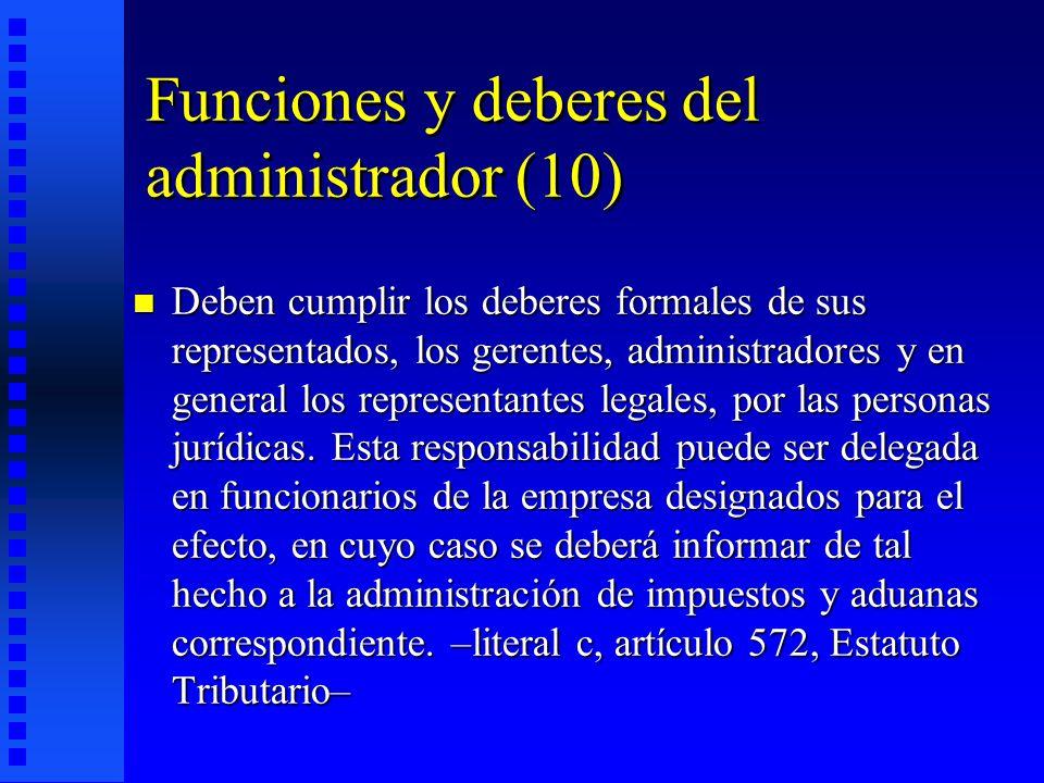 Funciones y deberes del administrador (10)