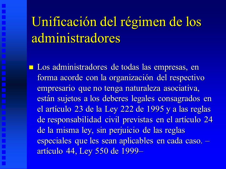 Unificación del régimen de los administradores