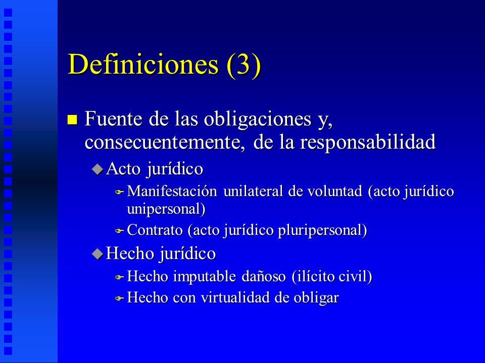 Definiciones (3) Fuente de las obligaciones y, consecuentemente, de la responsabilidad. Acto jurídico.