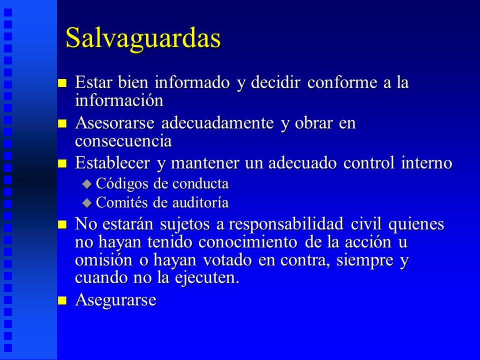 Salvaguardas Estar bien informado y decidir conforme a la información