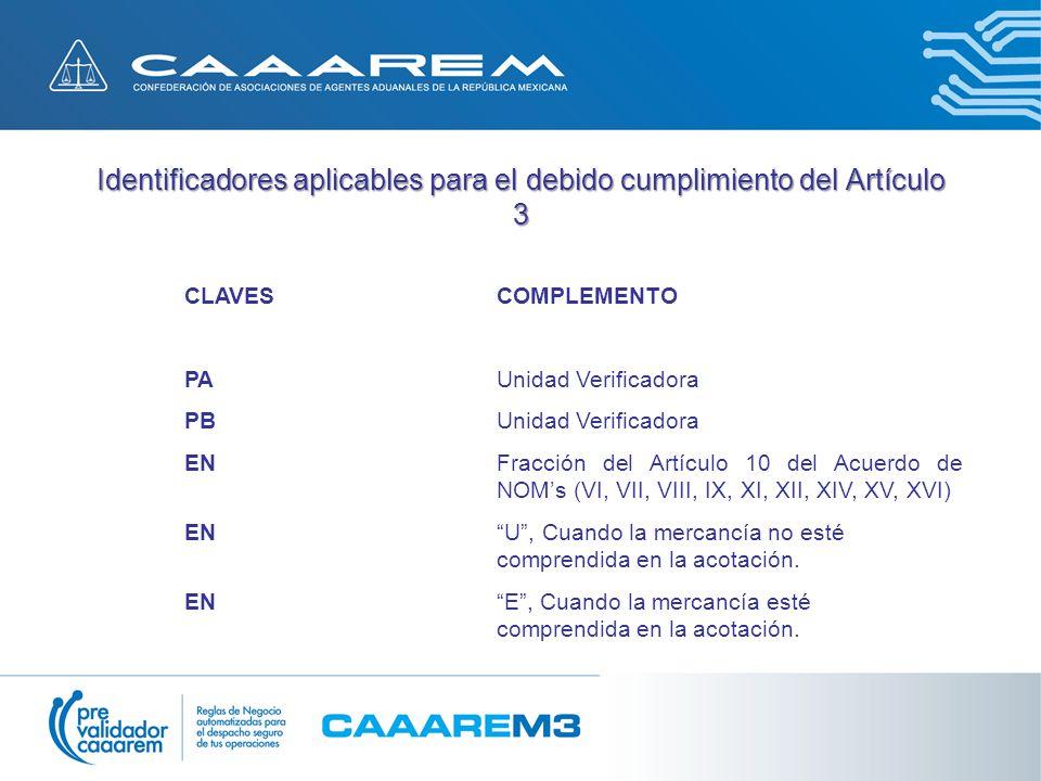 Identificadores aplicables para el debido cumplimiento del Artículo 3