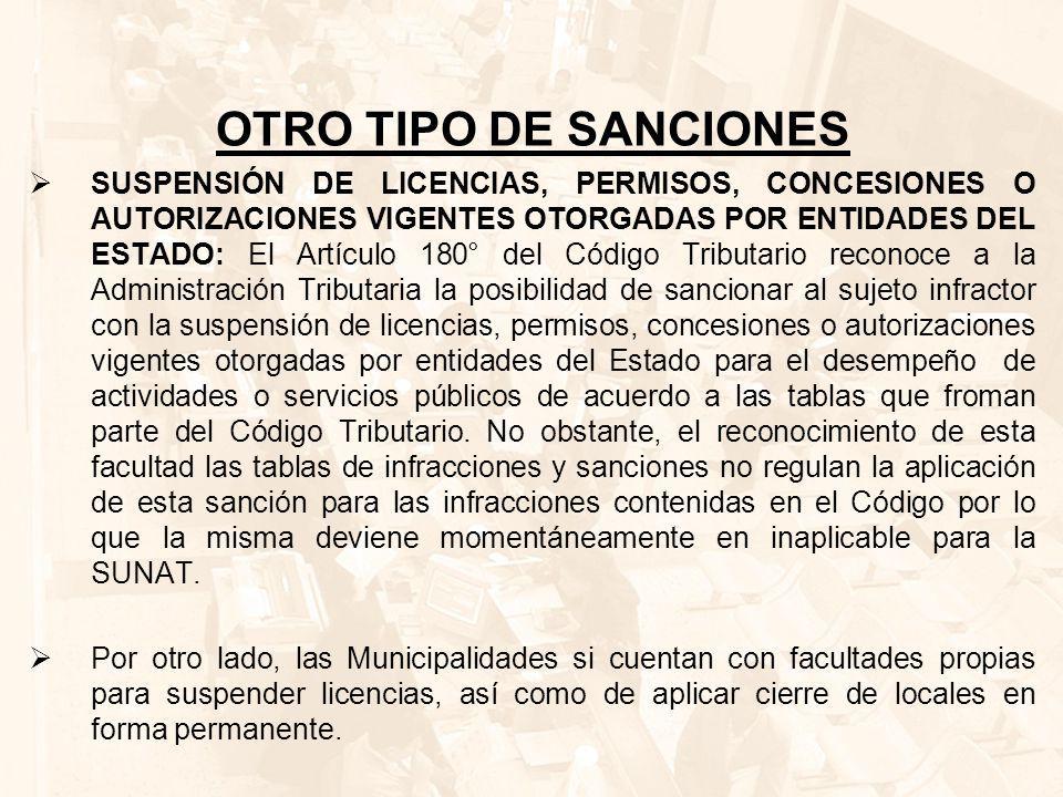 OTRO TIPO DE SANCIONES