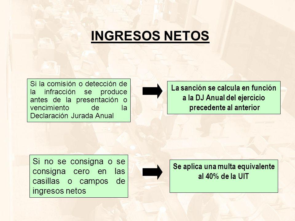 INGRESOS NETOS La sanción se calcula en función