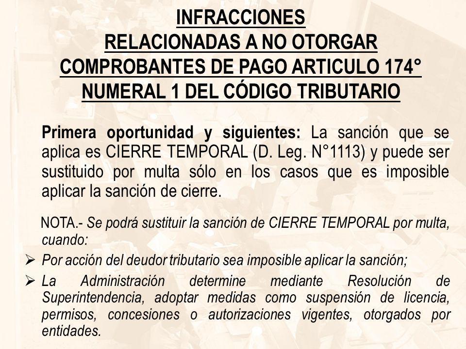 INFRACCIONES RELACIONADAS A NO OTORGAR COMPROBANTES DE PAGO ARTICULO 174° NUMERAL 1 DEL CÓDIGO TRIBUTARIO