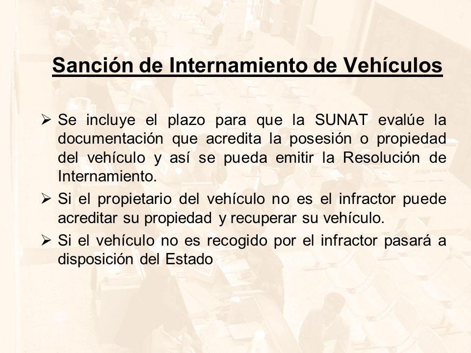 Sanción de Internamiento de Vehículos