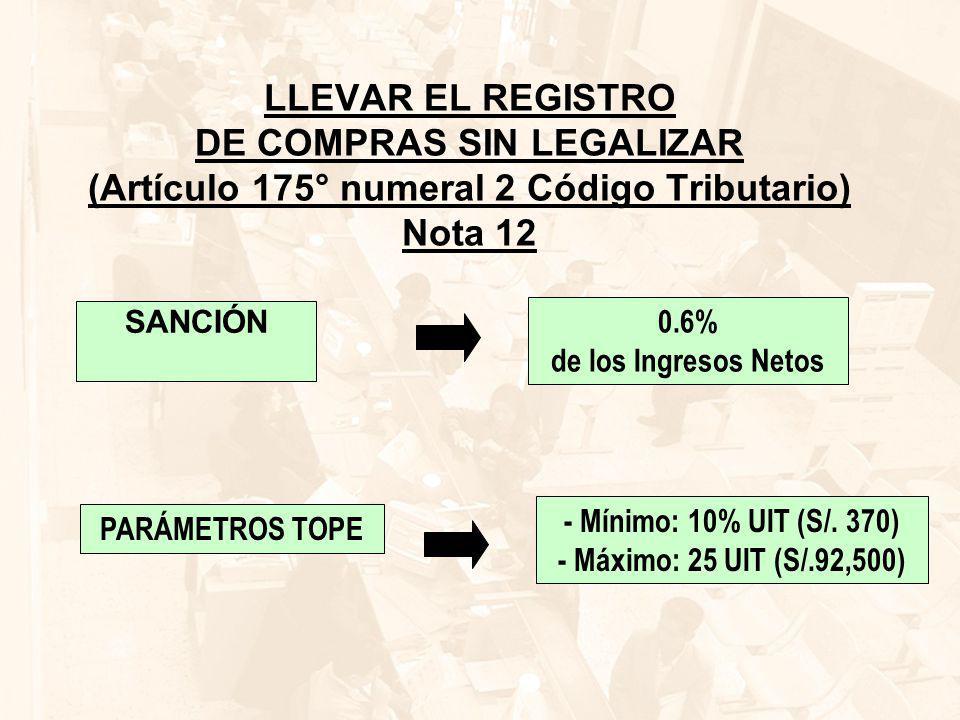 LLEVAR EL REGISTRO DE COMPRAS SIN LEGALIZAR (Artículo 175° numeral 2 Código Tributario) Nota 12