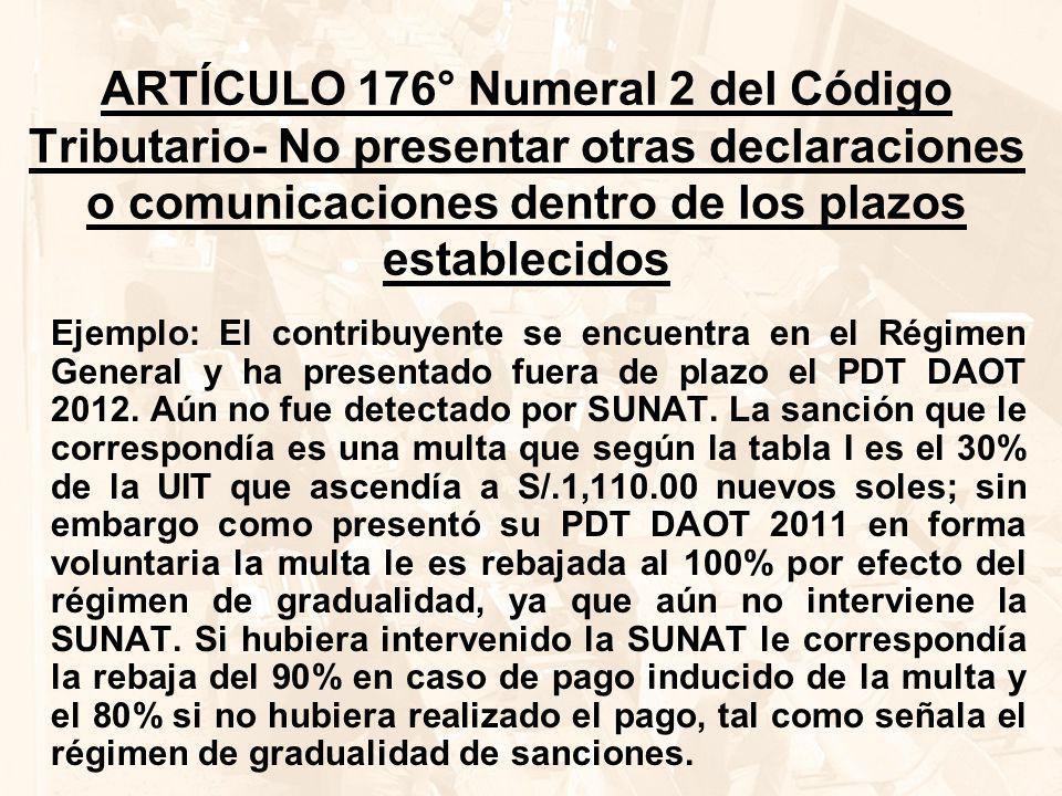 ARTÍCULO 176° Numeral 2 del Código Tributario- No presentar otras declaraciones o comunicaciones dentro de los plazos establecidos