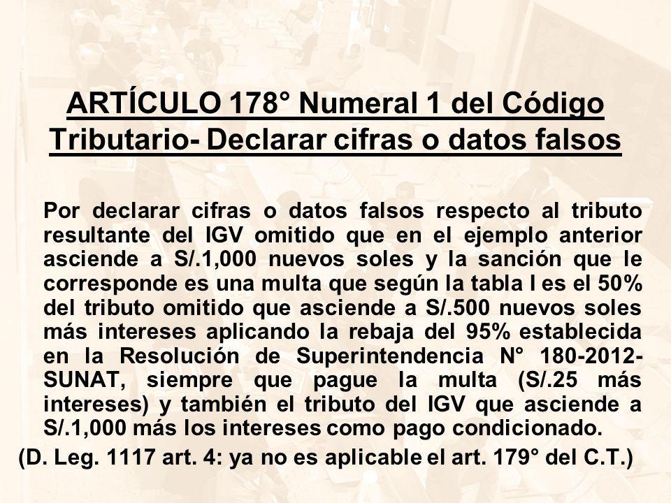 ARTÍCULO 178° Numeral 1 del Código Tributario- Declarar cifras o datos falsos