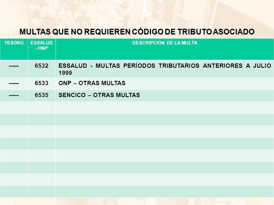 MULTAS QUE NO REQUIEREN CÓDIGO DE TRIBUTO ASOCIADO