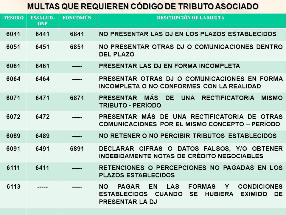 MULTAS QUE REQUIEREN CÓDIGO DE TRIBUTO ASOCIADO
