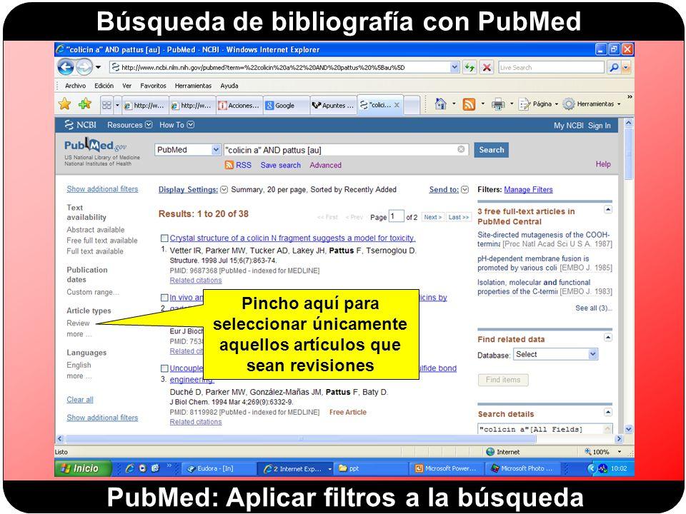 PubMed: Aplicar filtros a la búsqueda