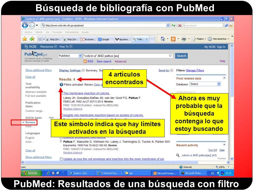 PubMed: Resultados de una búsqueda con filtro