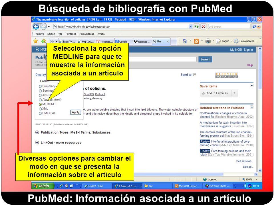 PubMed: Información asociada a un artículo