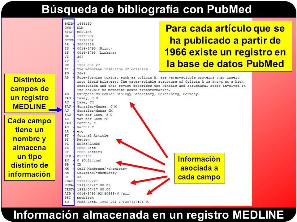Información almacenada en un registro MEDLINE