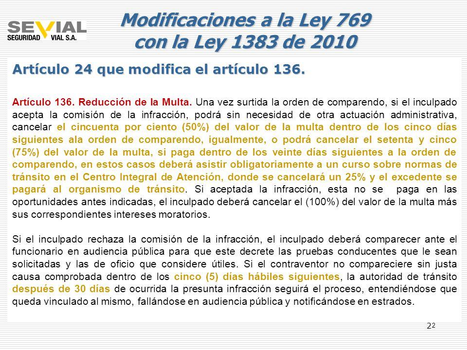 Modificaciones a la Ley 769 con la Ley 1383 de 2010