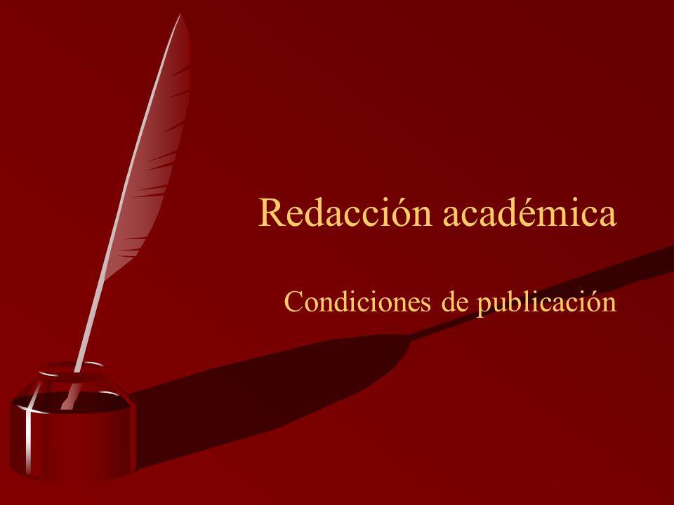 Condiciones de publicación