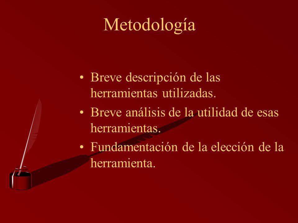 Metodología Breve descripción de las herramientas utilizadas.