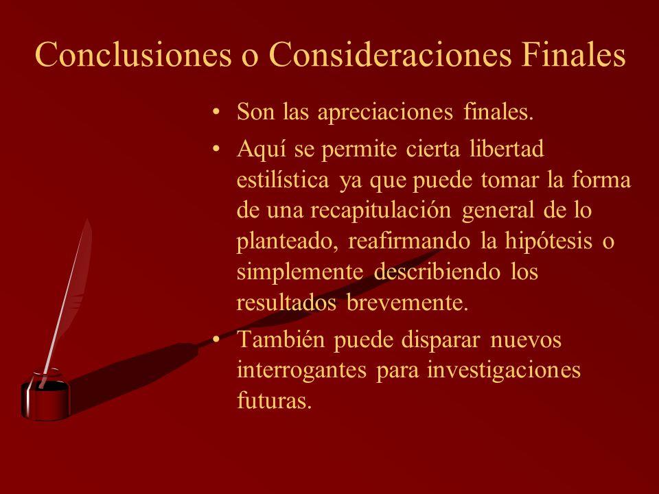 Conclusiones o Consideraciones Finales