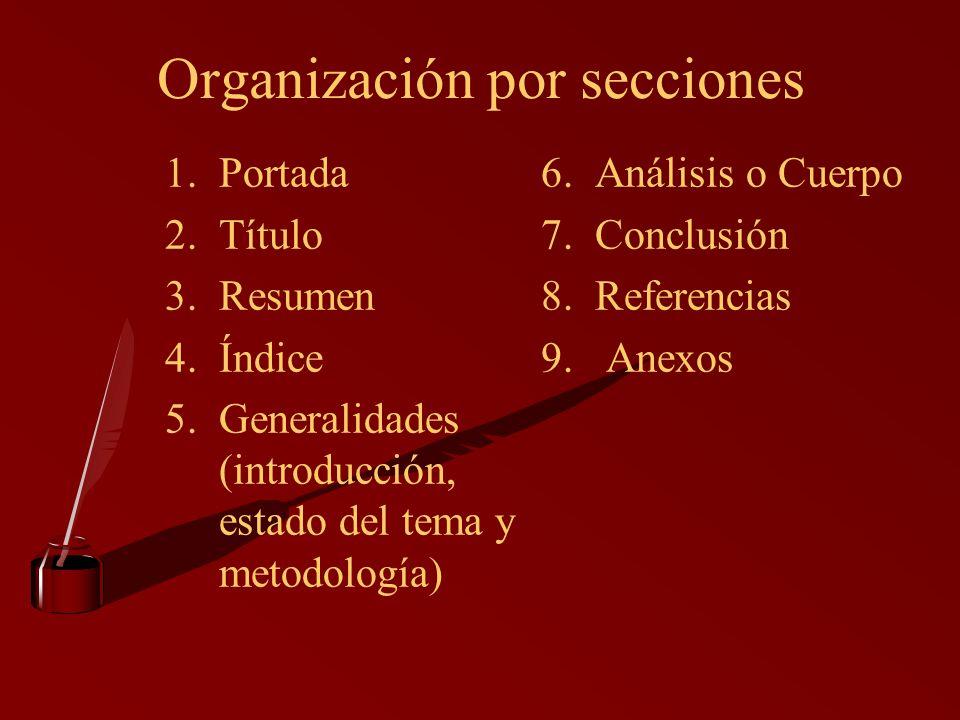 Organización por secciones