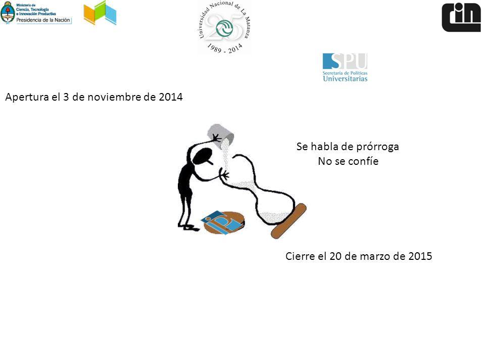 Apertura el 3 de noviembre de 2014