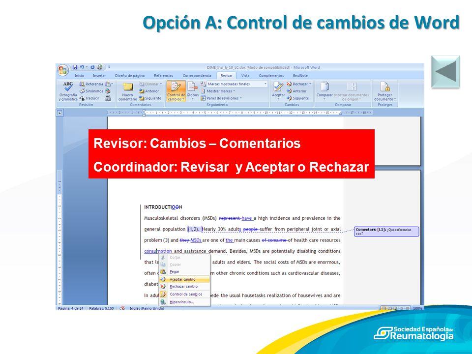 Opción A: Control de cambios de Word