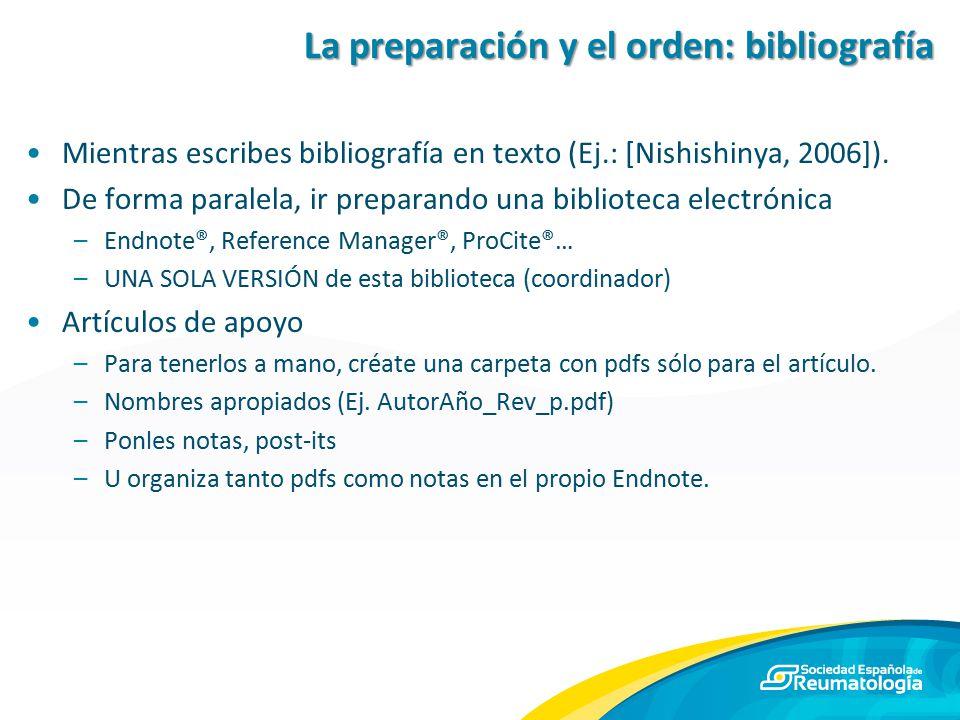 La preparación y el orden: bibliografía