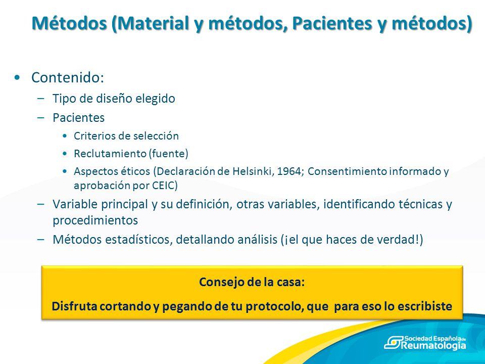 Métodos (Material y métodos, Pacientes y métodos)