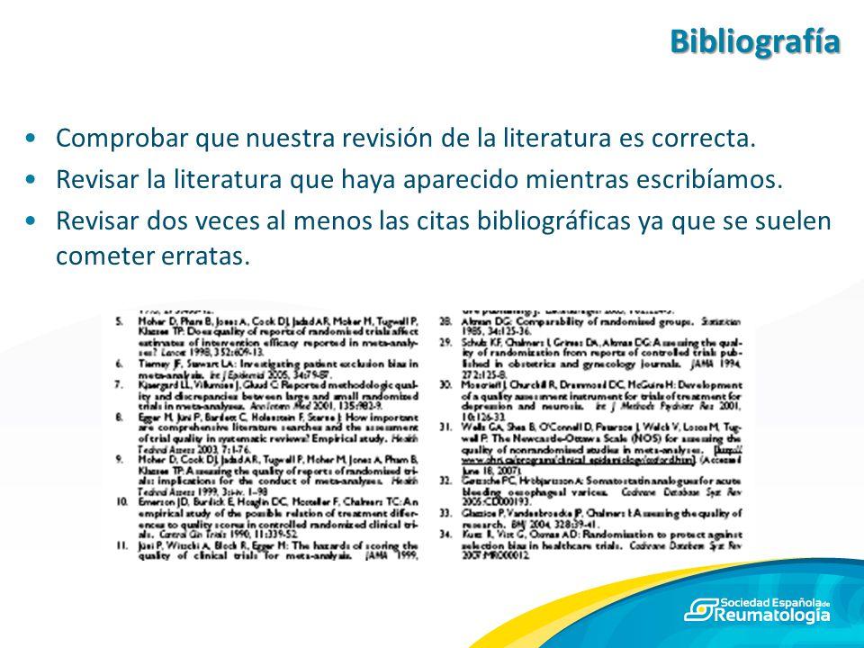Bibliografía Comprobar que nuestra revisión de la literatura es correcta. Revisar la literatura que haya aparecido mientras escribíamos.