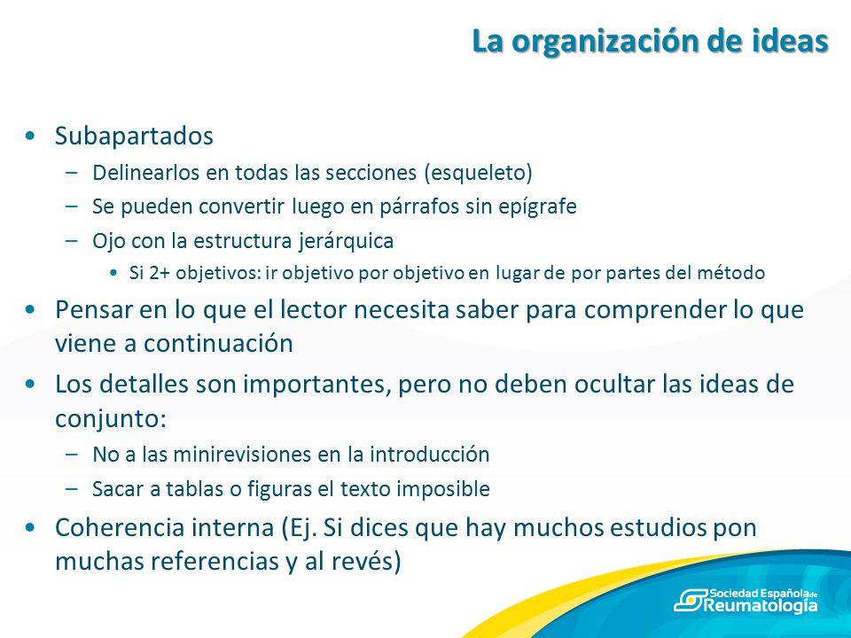 La organización de ideas