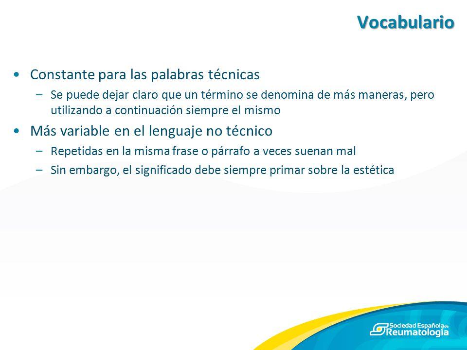 Vocabulario Constante para las palabras técnicas
