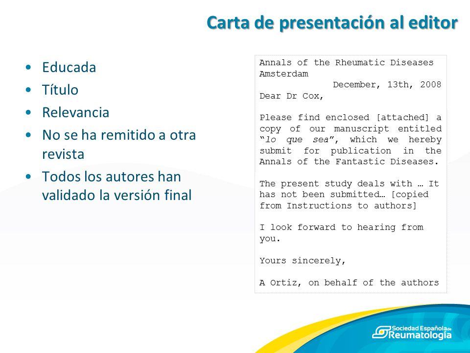 Carta de presentación al editor