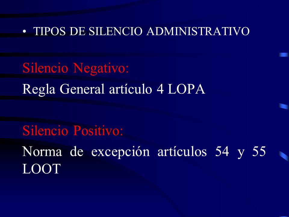 Regla General artículo 4 LOPA Silencio Positivo: