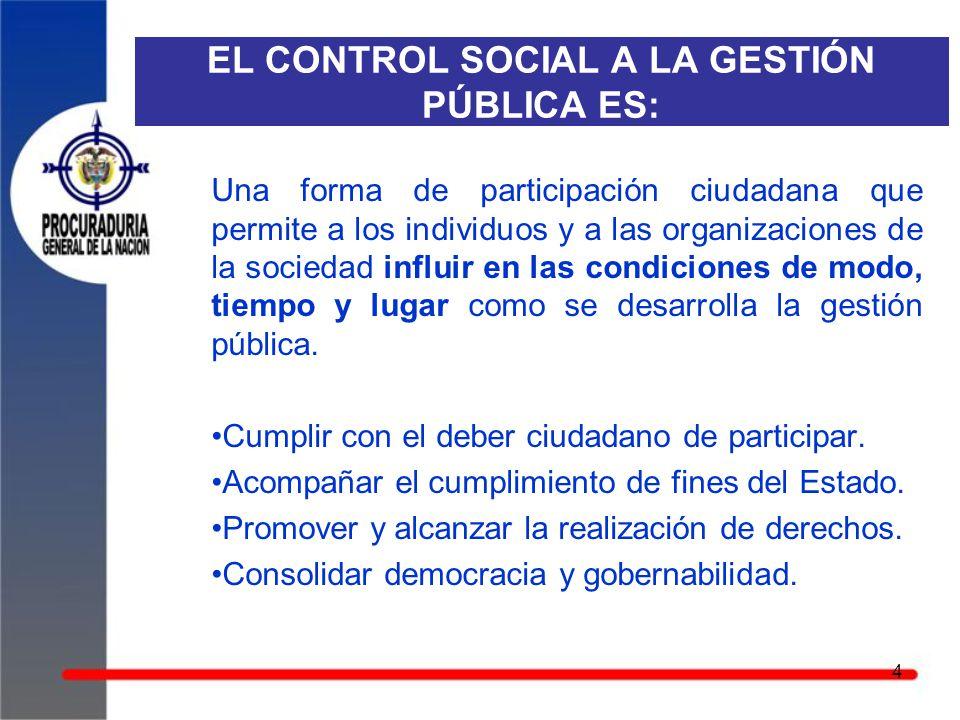 EL CONTROL SOCIAL A LA GESTIÓN PÚBLICA ES: