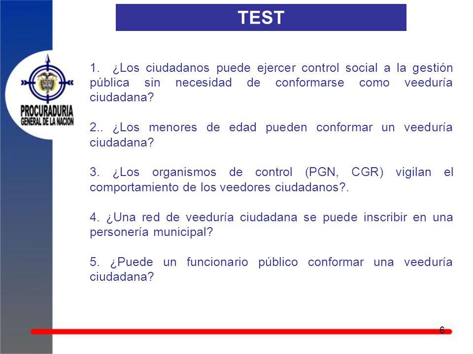 TEST 1. ¿Los ciudadanos puede ejercer control social a la gestión pública sin necesidad de conformarse como veeduría ciudadana