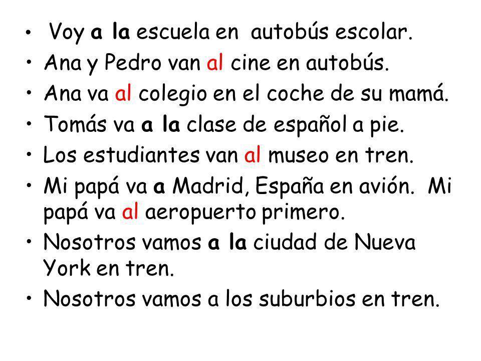 Ana y Pedro van al cine en autobús.