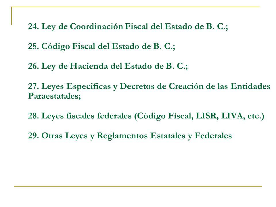 24. Ley de Coordinación Fiscal del Estado de B. C. ; 25