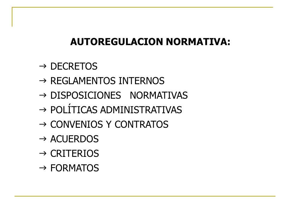 AUTOREGULACION NORMATIVA: