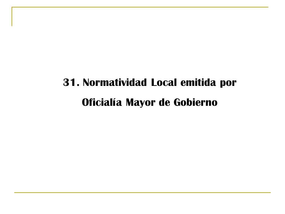 31. Normatividad Local emitida por Oficialía Mayor de Gobierno