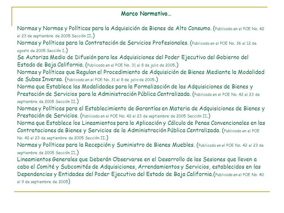 Marco Normativo… Normas y Normas y Políticas para la Adquisición de Bienes de Alto Consumo.