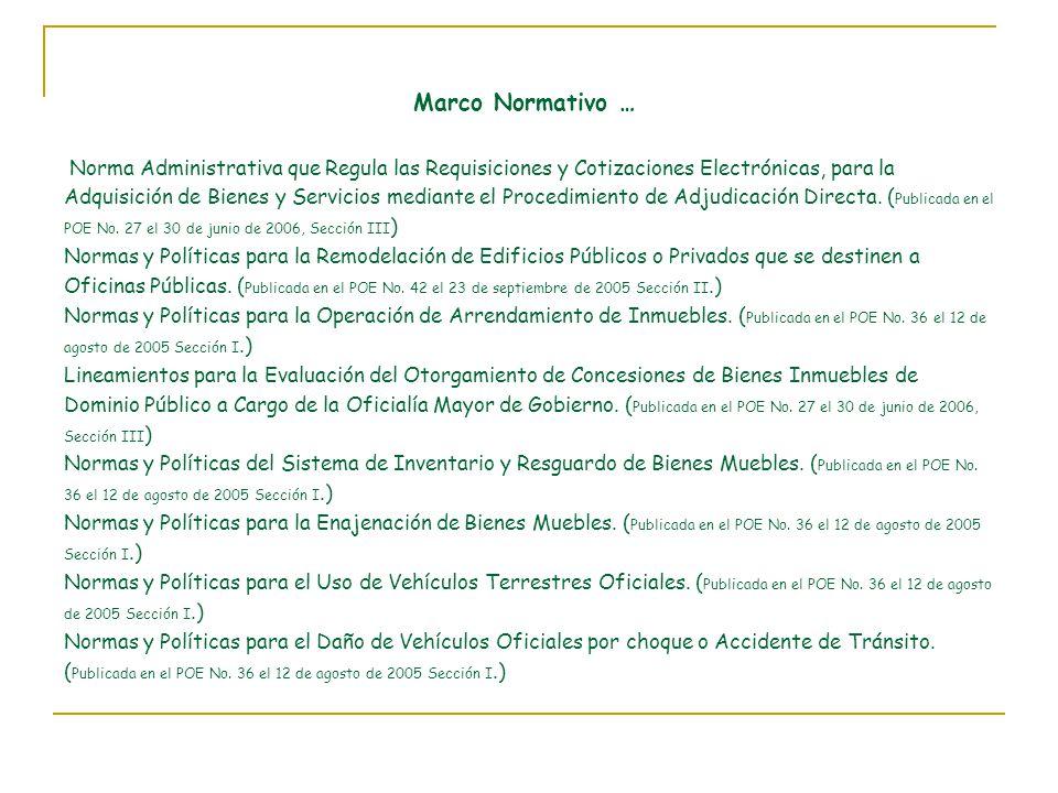 Marco Normativo … Norma Administrativa que Regula las Requisiciones y Cotizaciones Electrónicas, para la Adquisición de Bienes y Servicios mediante el Procedimiento de Adjudicación Directa.