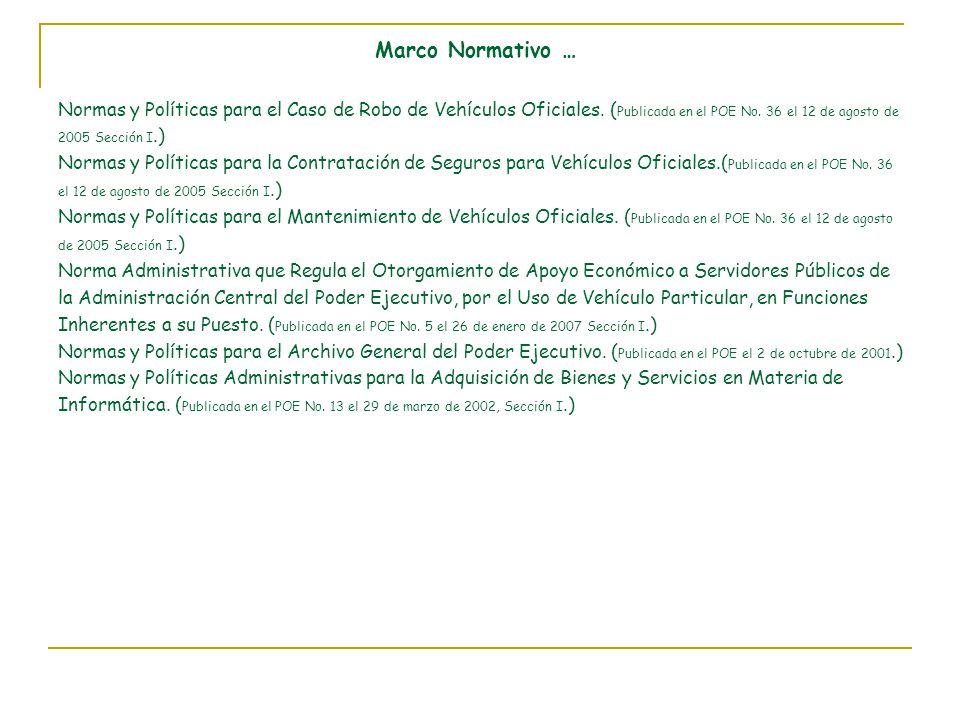 Marco Normativo … Normas y Políticas para el Caso de Robo de Vehículos Oficiales.