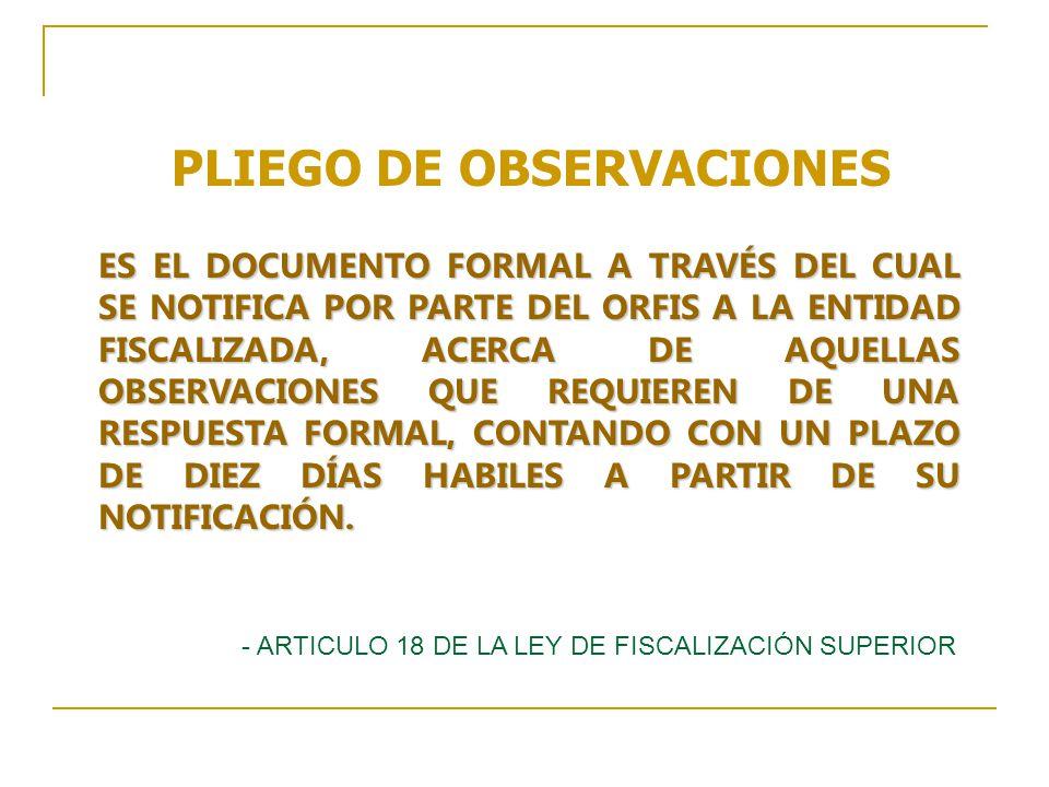 PLIEGO DE OBSERVACIONES
