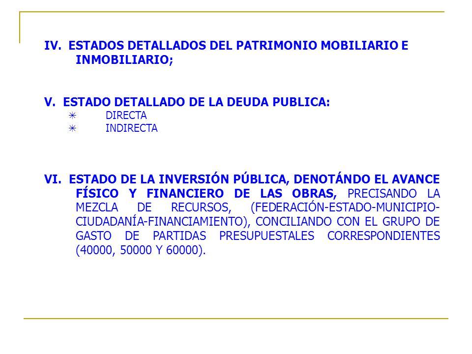 IV. ESTADOS DETALLADOS DEL PATRIMONIO MOBILIARIO E INMOBILIARIO;