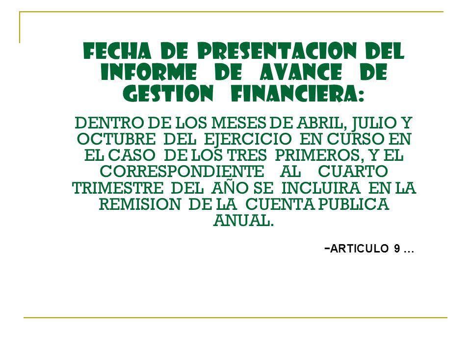 FECHA DE PRESENTACION DEL INFORME DE AVANCE DE GESTION FINANCIERA: