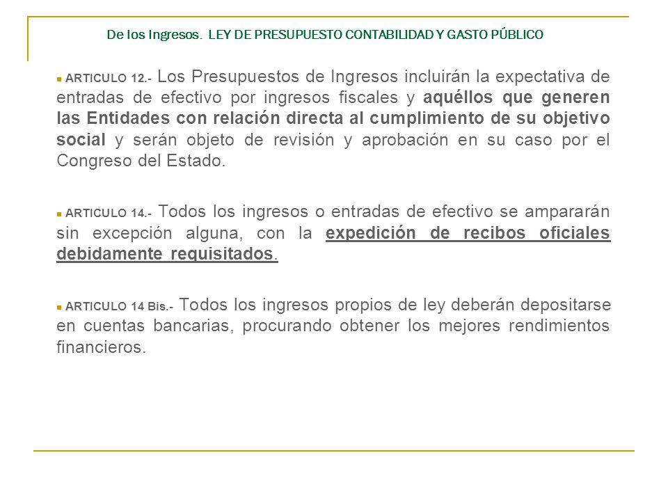 De los Ingresos. LEY DE PRESUPUESTO CONTABILIDAD Y GASTO PÚBLICO